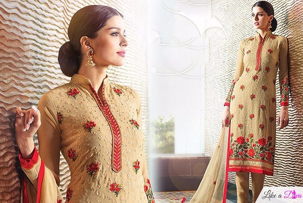 Beige Floral Embroidered Suit With Straight Pants