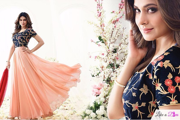 Peach Navy Blue Floral Embroidered Anarkali Suit