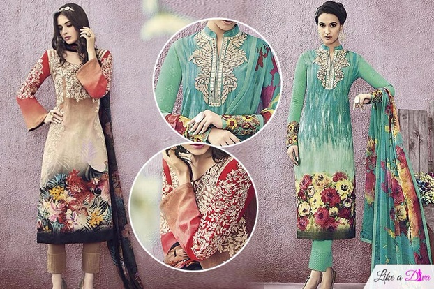 Stunning Floral Print Cotton Straight Cut Salwar Suits