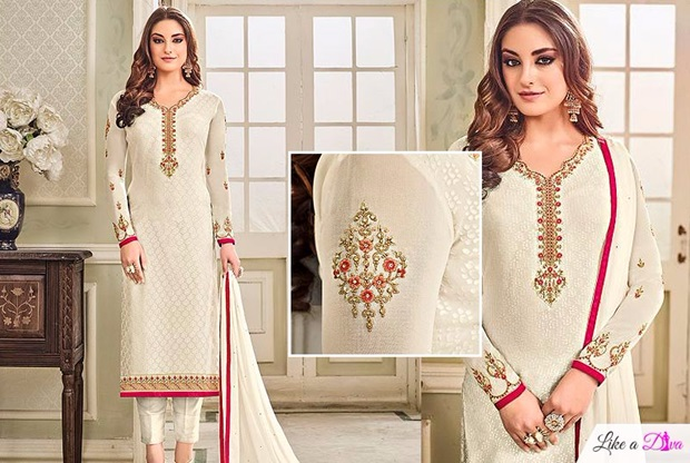 White Brasso Floral Embroidered Salwar Suit