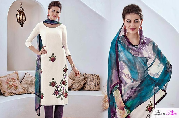 White Floral Embroidered Designer Cotton Suit