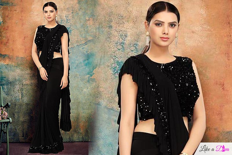 Black Ruffle Saree with Sequin Detailing