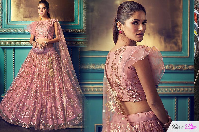 Blush Pink Party Wear Net Lehenga with Beautiful Sequin Work