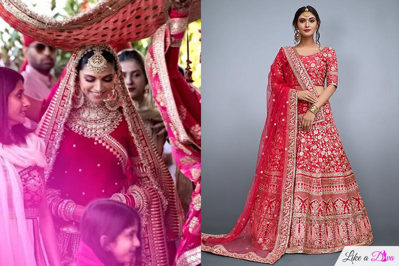 6d0da5e55ea She donned ravishing red lehenga choli embellished with gold details. Red  chooda and kalire completed her dreamy bridal look.