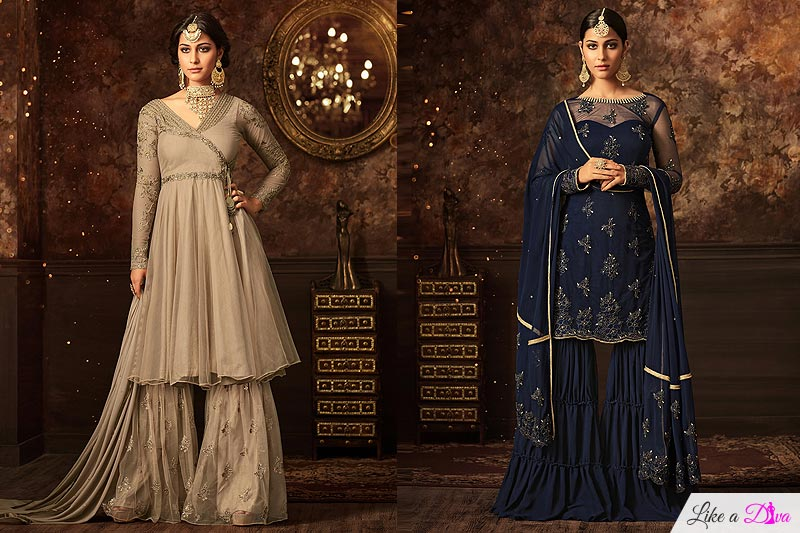 f76786962 Sara Ali Khan brought back the sharara suits in fashion. Up your sartorial  game with Like A Diva's Embroidered Net Sharara Suit in nude colour or  Floral ...