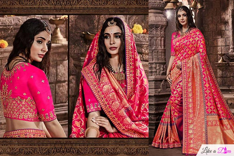 Poppy Pink Banarasi Silk Saree