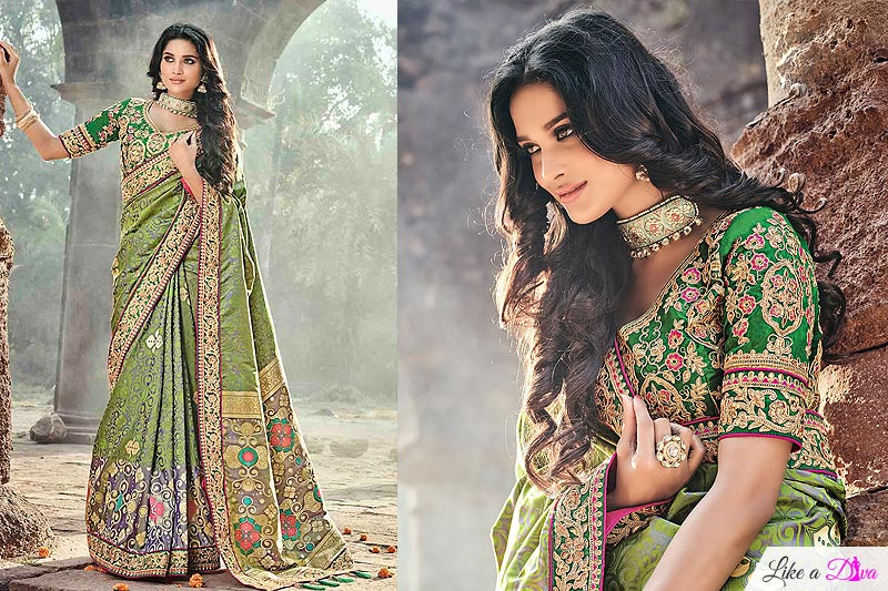 Green Banarasi Silk Saree with Embroidered Blouse
