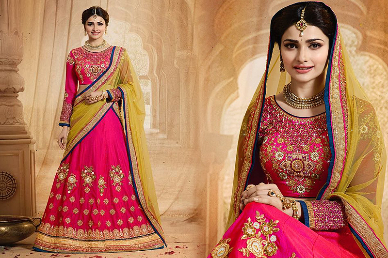 Bridal Luxe Bright Pink And Yellow Heavy Embroidered Lehenga Set - Likeadiva