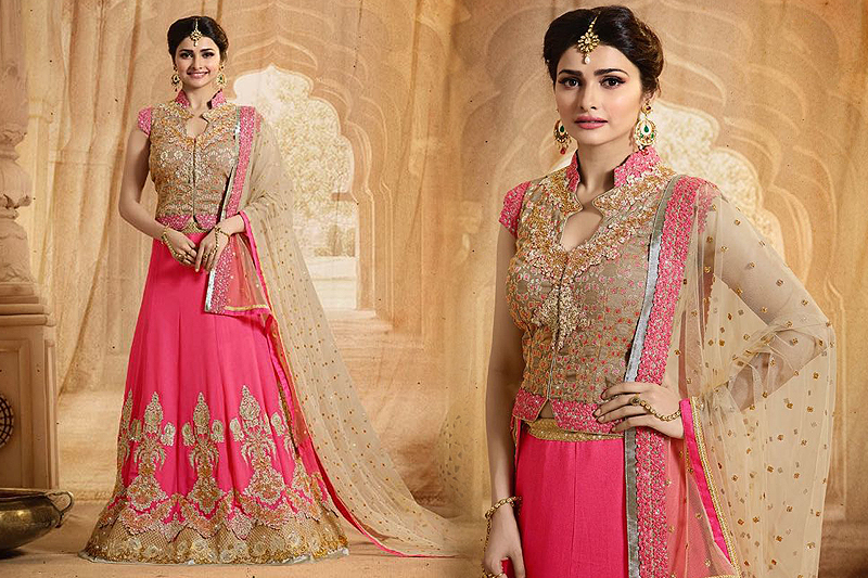 Elegant Bridal Pink And Beige Heavy Embroidered Lehenga Set - Likeadiva