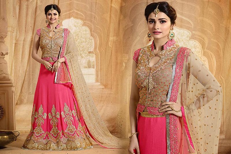 Elegant Bridal Pink And Beige Heavy Embroidered Lehenga Set - Likeadiva