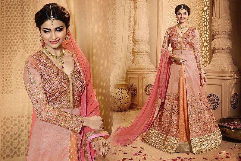 Glamorous And Elegant Pink Peach Lehenga Anarkali Set - Likeadiva