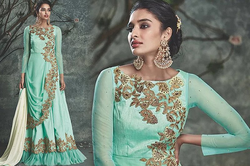 Kesari Sea Green Party Wear dress - Likeadiva