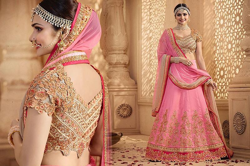 Royal And Elegant Pink Beige Heavy Embroidered Lehenga Suit - Likeadiva