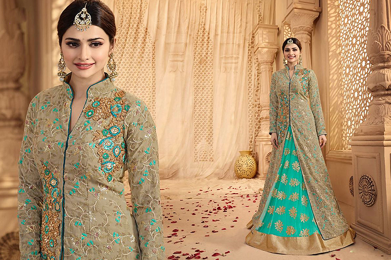 Royal Gray-Green And Turquoise Heavy Embroidered Lehenga Suit - likeadiva