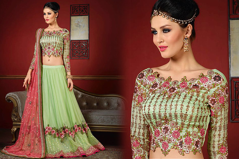 Royal Mint Green And Pink Designer Lehenga - Likeadiva