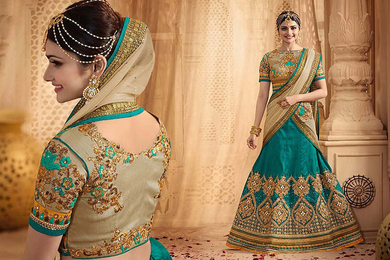 Stunning And Luxe Teal Green Heavy Embroidered Lehenga Set - Likeadiva