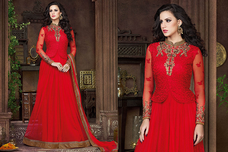 Red Anarkali suits - Like A Diva