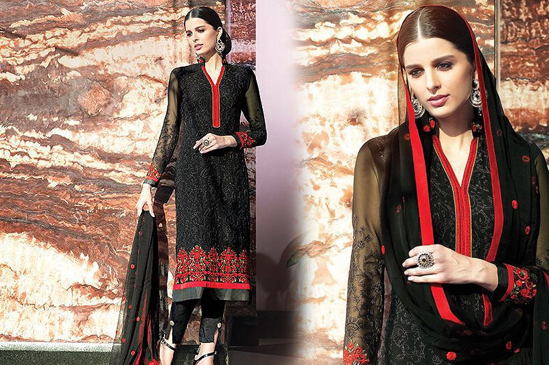 Georgette Suit With Embroidery In Black