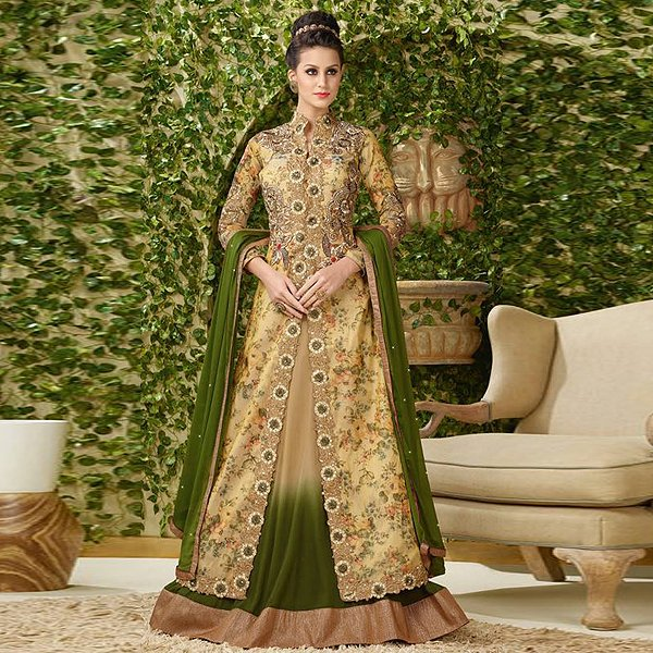 Dark olive and beige jacket style lehenga suit - Likeadiva
