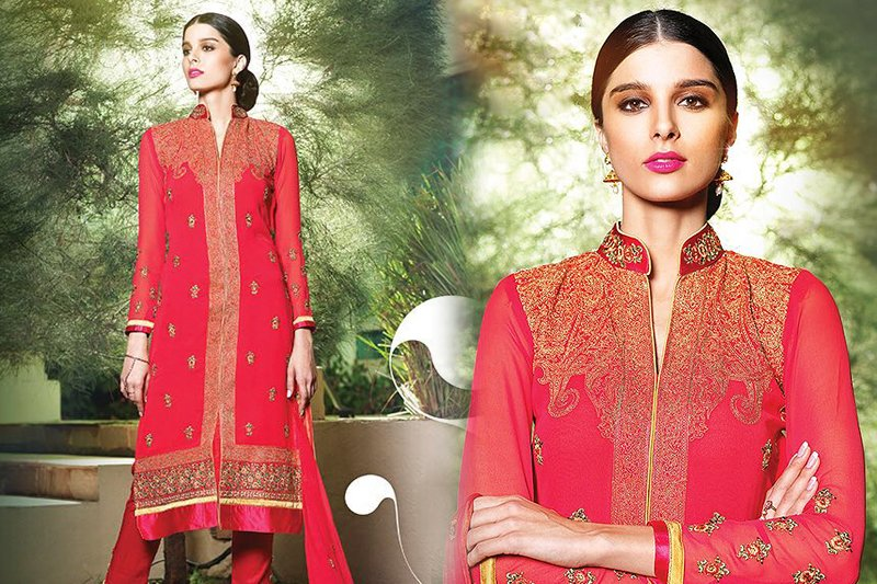 Georgette Suit With Embroidery In French Rose - like a diva