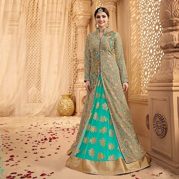 Gray-Green And Turquoise Heavy Embroidered Lehenga Suit - Likeadiva