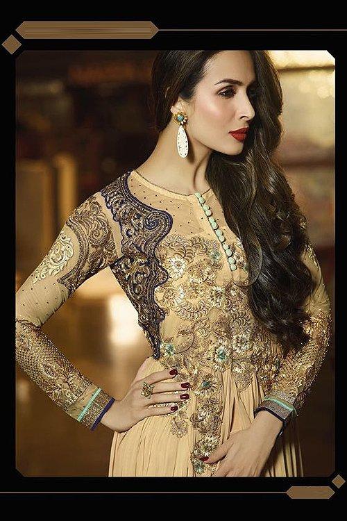 Gold Glossy Malaika Arora Khan Heavy Embroidery Anarkali Suit