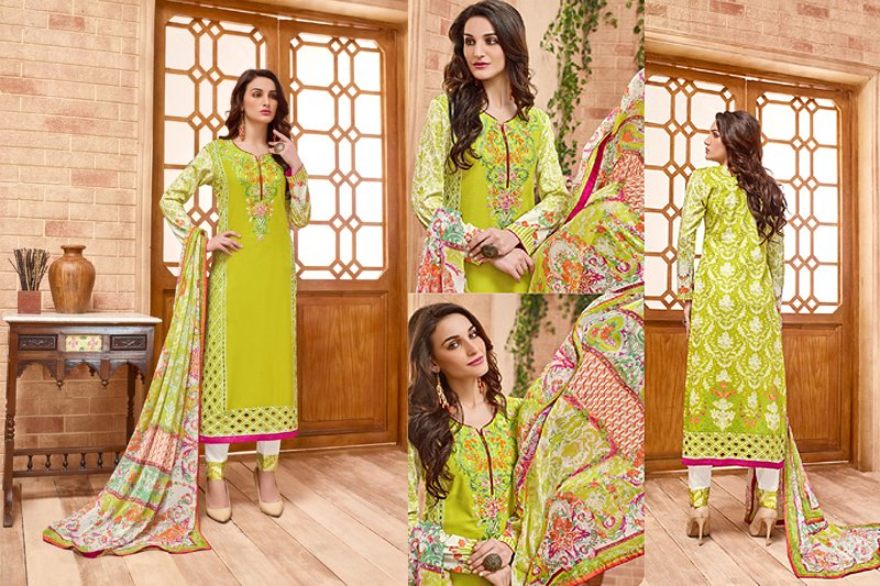 Green Embroidered Suit With Pure Chiffon Dupatta - Like adiva