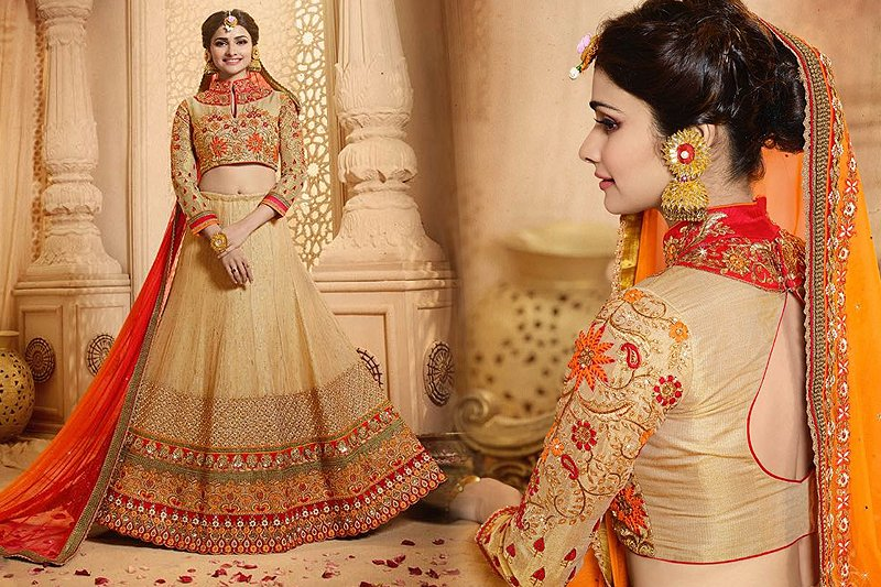 Royal Beige And Red Heavy Embroidered Lehenga Set - likeadiva
