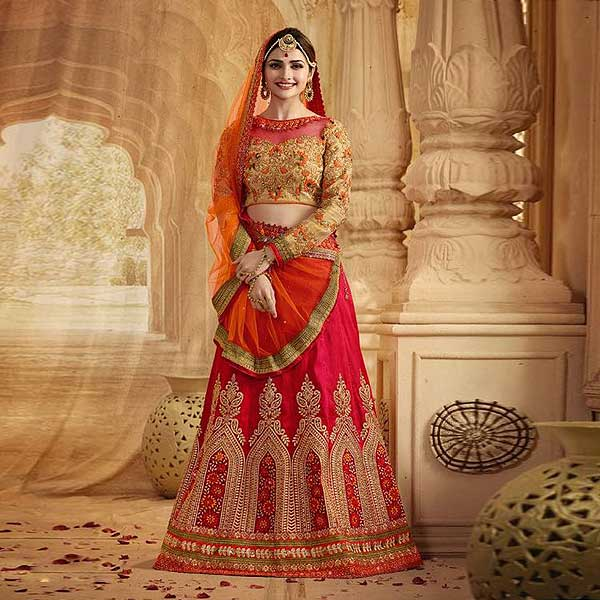 Red And Orange Heavy Embroidered Lehenga Suit