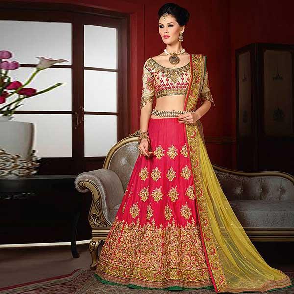 Pink And Yellow Designer Lehenga - likeadiva