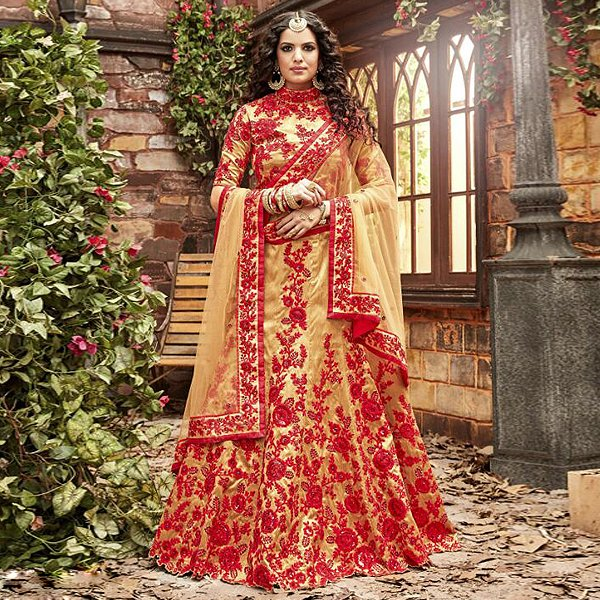 Red And Gold Designer Lehenga - Likeadiva
