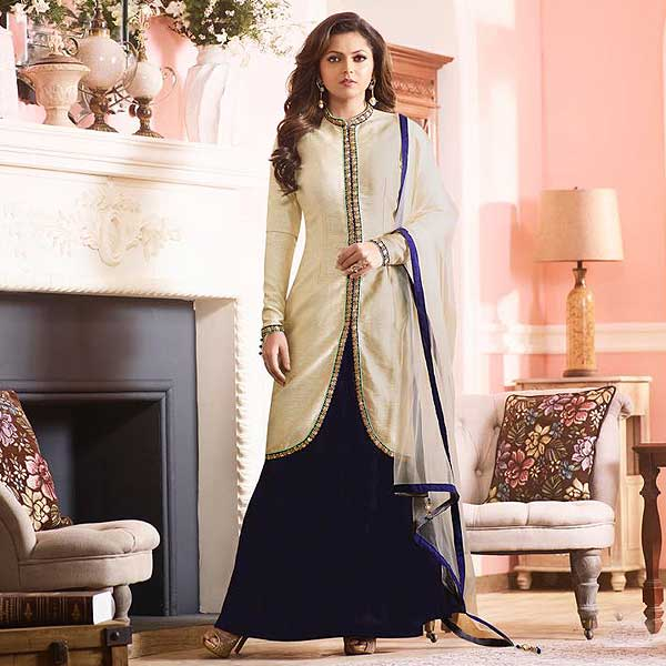 Cream And Navy Blue Silk Jacket Lehenga Style Suit - likeadiva
