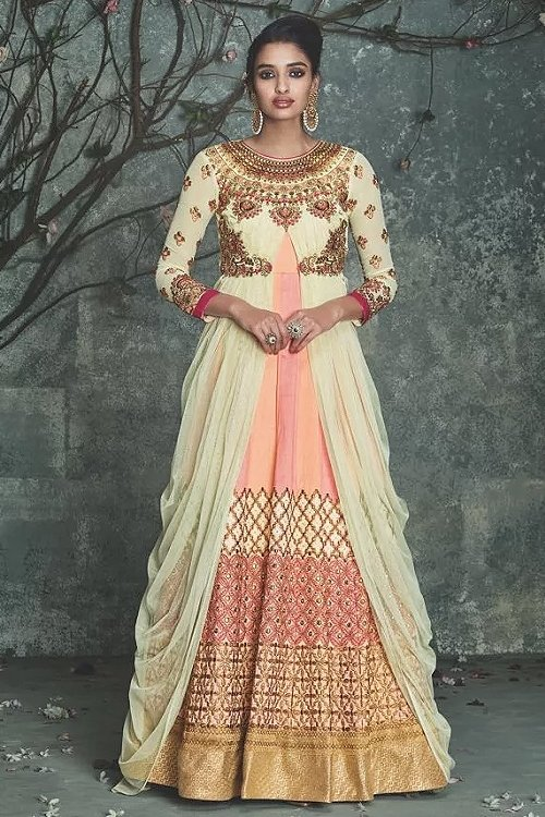 Off white and Peach embellished indo western dress