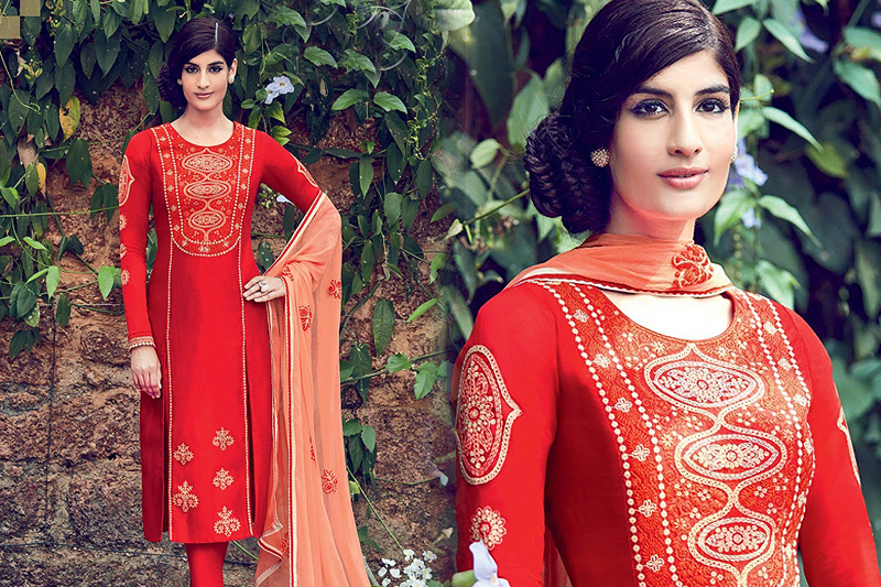 Embroidered Palazzo Suit Red - like a diva