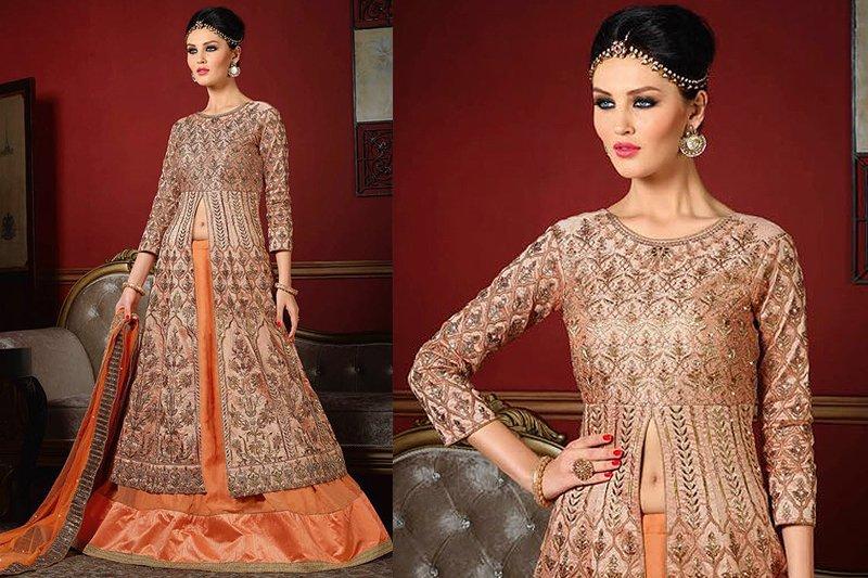 Stunning Peach Designer Lehenga - Like A Diva