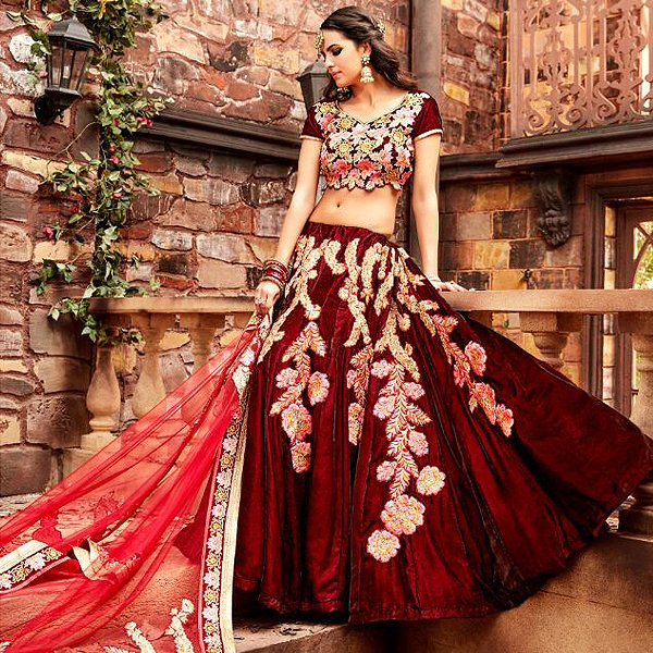 Pink and Royal Red lehenga - Likeadiva