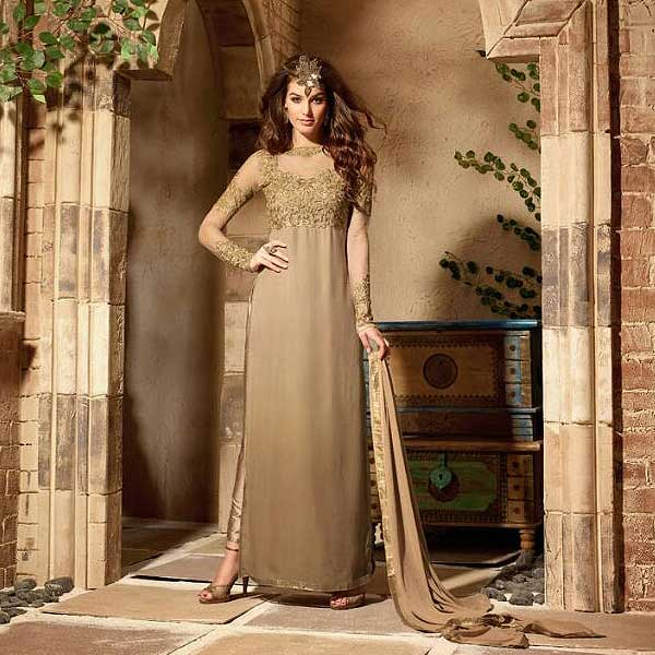 Gold Pure Georgette Embroidery Designer Anarkali Suits - likeadiva