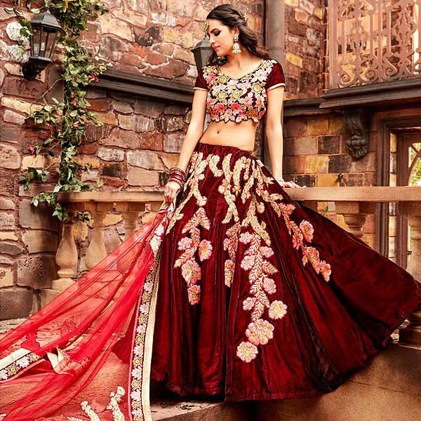 Red And Pink Designer Lehenga - likeadiva