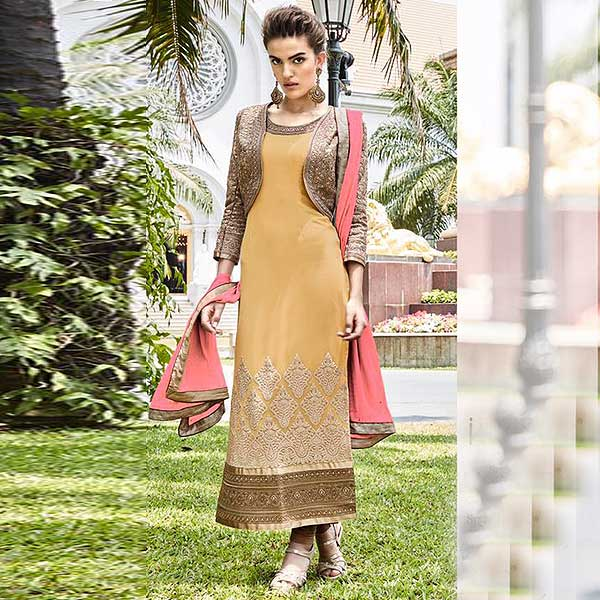 Pure Georgette Embellished Straight Cut Asian Suit In Mustard - likeadiva