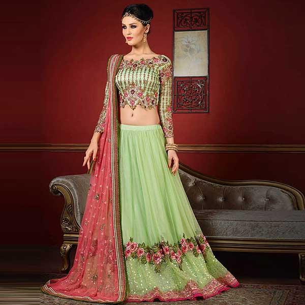 Mint Green And Pink Designer Lehenga - likeadiva