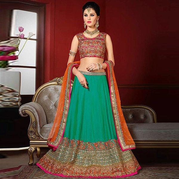 Pink and luxe turquoise green designer lehenga - Likeadiva