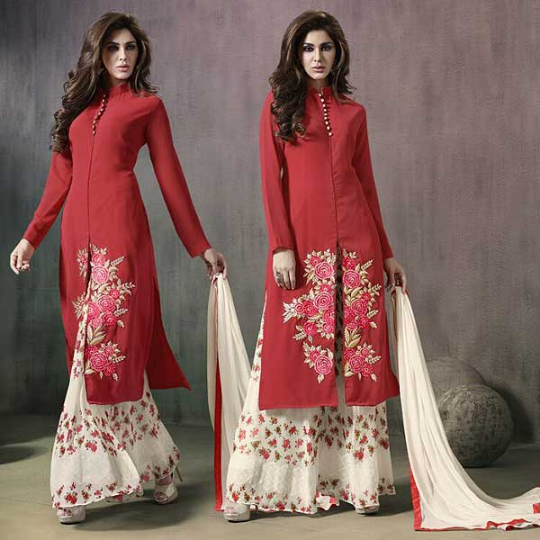 White And Red Palazzo Suit - likeadiva