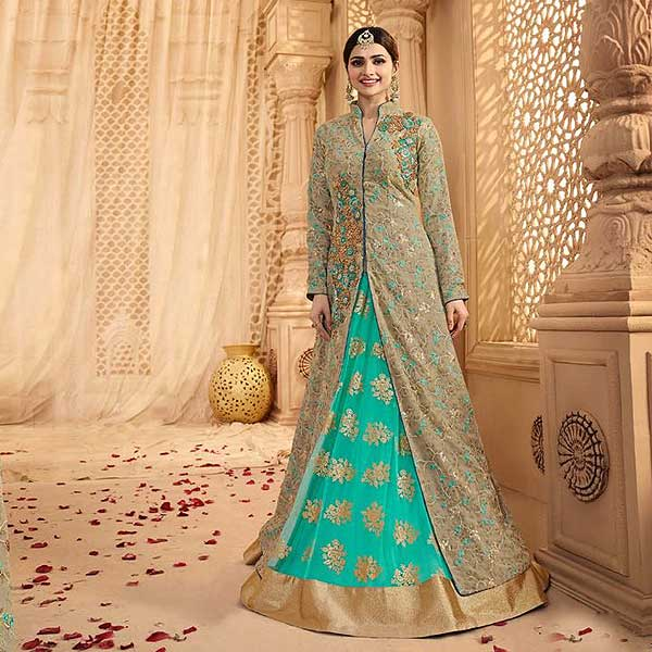 Green And Turquoise Heavy Embroidered Lehenga Suit - likeadiva