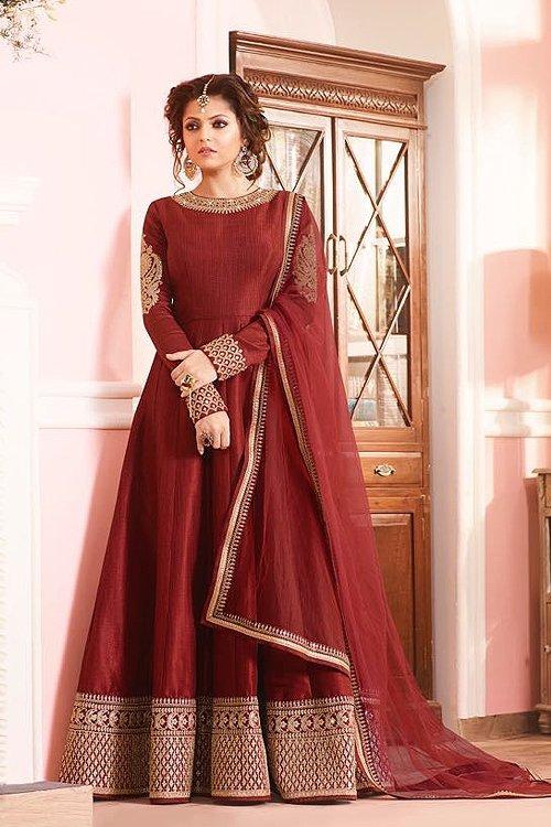 Luxurious Brick Red Silk Anarkali Suit