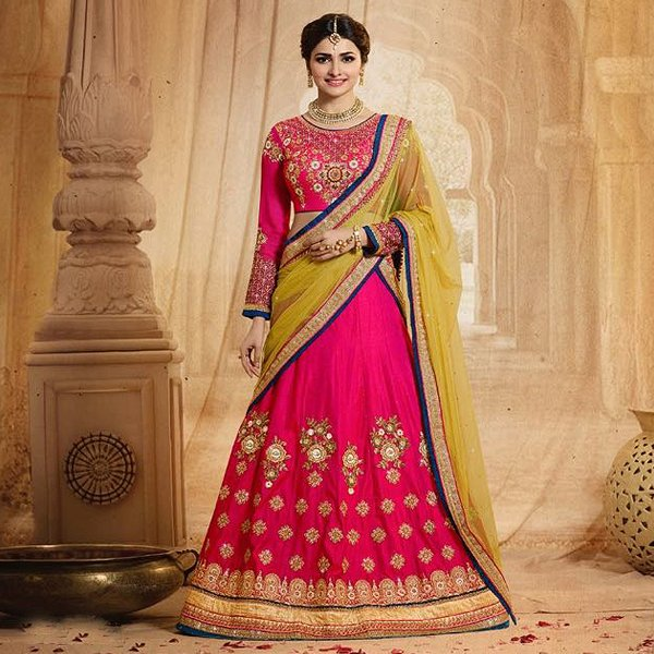 Pink And Yellow Heavy Embroidered Lehenga Set - Like adiva