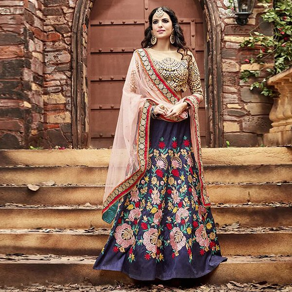 Blue and baby pink embroidered lehenga - Likeadiva