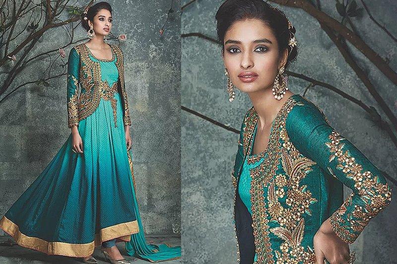 Green Ombre Embellished Anarkali Suit - Likeadiva