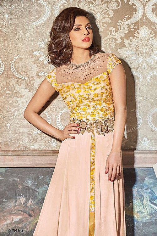 Heroine Yellow and beige suit with chiffon dupatta