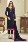 Pant Style Salwar Kameez In Navy Blue Brasso with Floral Embroidery