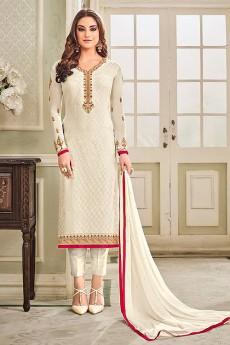 Designer Pant Style Salwar Kameez In White Brasso Floral Embroidered